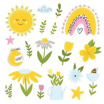 Kwiaty pszczół miodnych i tęczowe cliparty kolekcja wiosennych elementów elementy scrapbookingu