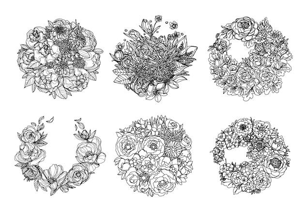 Kwiaty ręcznie rysowanie i szkic czarno-biały