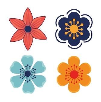 Kwiaty rośliny ogrodowe ikony dekoracji