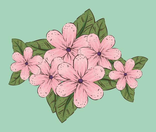 Kwiaty rośliny z liśćmi i płatkami natury