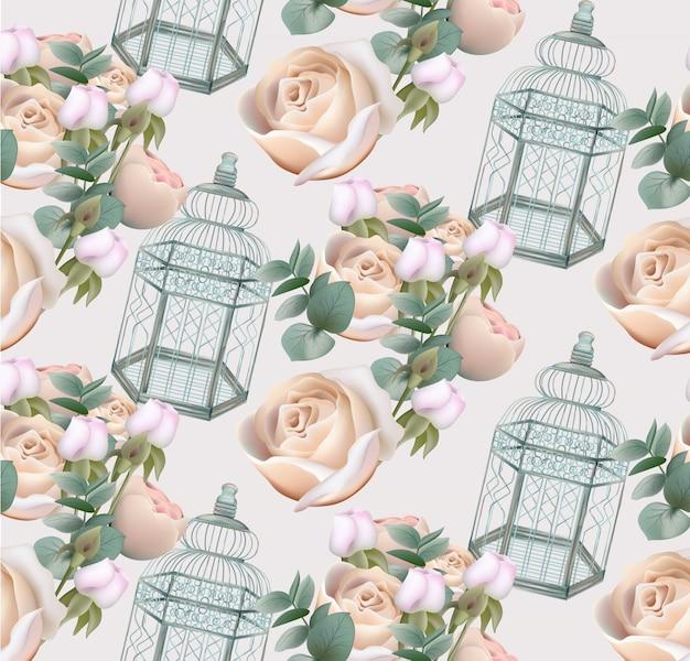 Kwiaty róży i tło klatka dla ptaków wzór