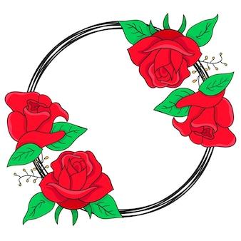 Kwiaty róży zaokrąglone obramowania ramki