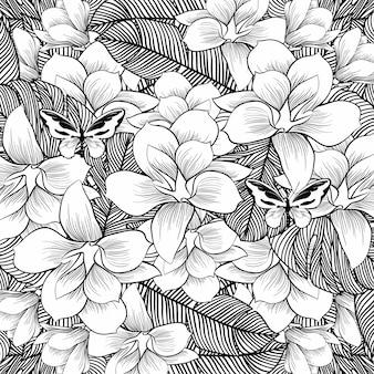Kwiaty rysuje z sztuką na białym tle