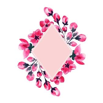 Kwiaty sakury, akwarela rama kwiat wiśni