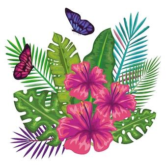 Kwiaty tropikalne i egzotyki z motylami