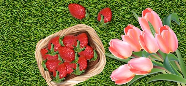 Kwiaty tulipanów i truskawki