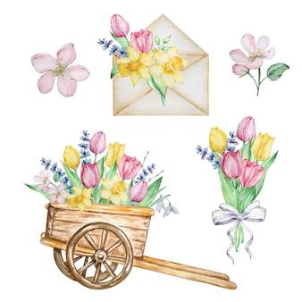Kwiaty w akwarela, bukiet, wózek i koperta z tulipanami, żonkilami i przebiśniegami.