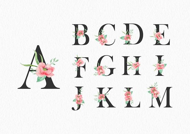 Kwiaty w akwarela na szablonie alfabetu od a do m.