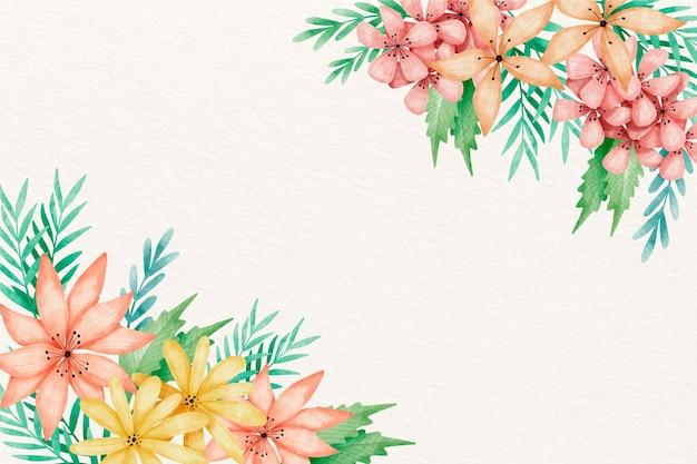 Kwiaty w akwarela tło w pastelowych kolorach