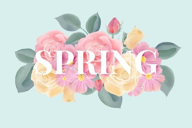 Kwiaty w akwarela tło z napisem wiosna