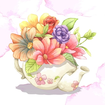Kwiaty w imbryku. różowe, czerwone, fioletowe kwiaty sztuki projektowania elementów obiektu na białym tle stockowa ilustracja wektorowa