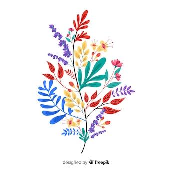 Kwiaty w kolorowy liść