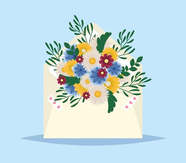 Kwiaty w kopercie. poczta dla ciebie. tło wiosna. prezent dla niej. koperta z wiosennymi kwiatami. dzień matki lub valentine karty z pozdrowieniami. wiadomość z pozdrowieniami kwiatowy. ilustracji wektorowych.
