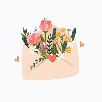 Kwiaty w kopercie. poczta kwiatowy. szczęśliwych walentynek