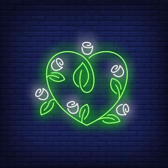 Kwiaty w kształcie serca neon znak.