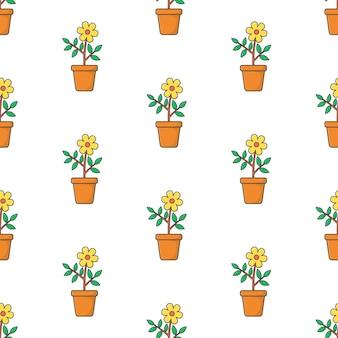 Kwiaty w puli szwu na białym tle. ilustracja motywu roślinnego kwiatu