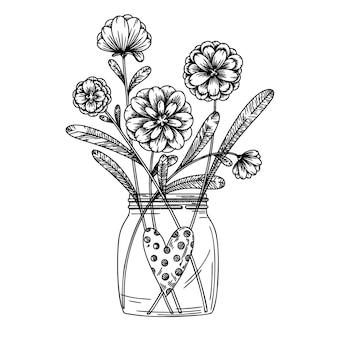 Kwiaty w szklanym słoiku. bukiet na białym tle na białym tle. ilustracja wektorowa w stylu szkicu.
