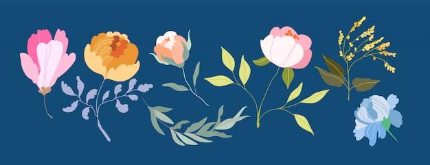 Kwiaty wektorowe eleganckie kobiece gałęzie i główki kwiatowe.
