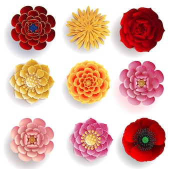 Kwiaty wycięte z papieru w stylu rzemieślniczym