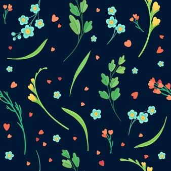 Kwiaty wzór na czarno