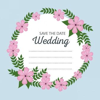 Kwiaty z gałęzi liści do karty ślubu