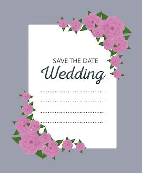 Kwiaty z liśćmi do dekoracji karty ślubu
