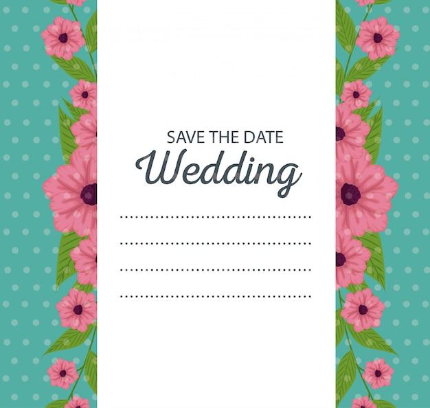 Kwiaty z liśćmi projektu do karty ślubu