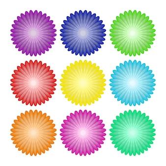 Kwiaty zestawione z realistycznymi astry, chryzantemy lub piwonie