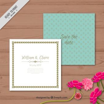 Kwiaty zielone zaproszenie ślubne