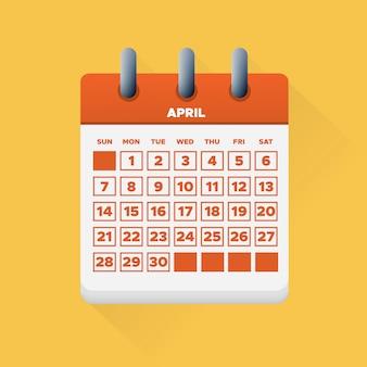Kwiecień na 2019 kalendarz