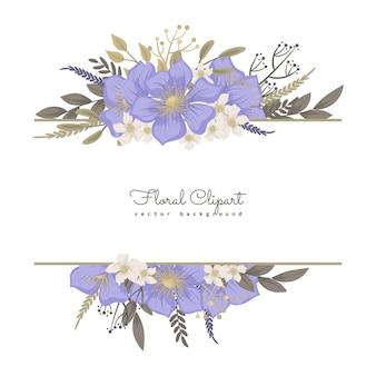 Kwiecista granica ze słodkimi fioletowymi kwiatami