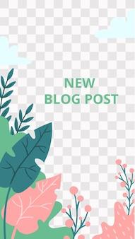 Kwiecista historia. flora ogrodowa nowy blog post szablon historii mediów społecznościowych. wektor wpis na blogu z miejscem na zdjęcie, kolaż broszury z ilustracją listu