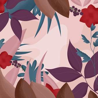 Kwiecista ilustracja płaski - tło jesień