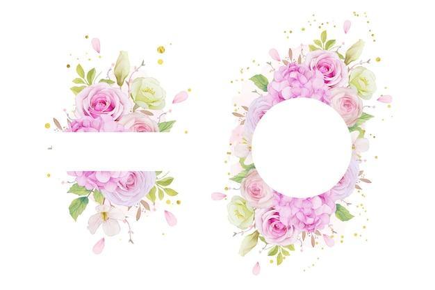 Kwiecista rama z akwarelowymi różowymi różami i niebieskim kwiatem hortensji