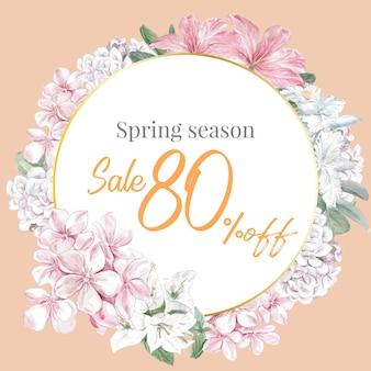 Kwiecista wiosenna rama sprzedaży