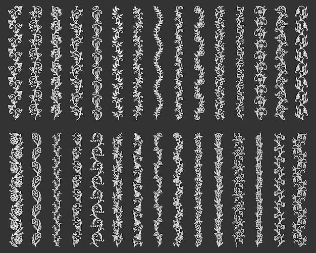 Kwieciste linie brzegowe i przekładki z ozdobnymi kwiatami