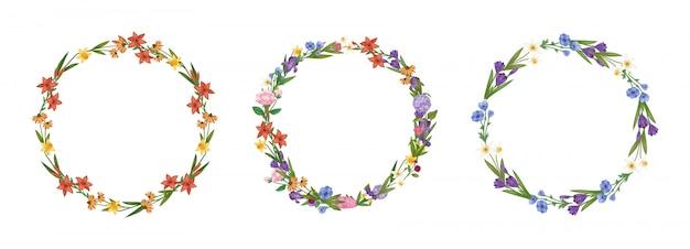Kwiecistego wianków kwiatów ramy kolekci kreskówki ustalona ilustracja.