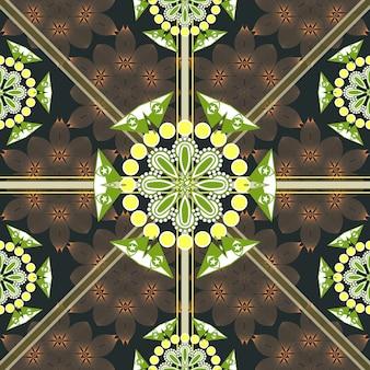 Kwiecisty bezszwowy kwiatowy wzór na brązowym tle