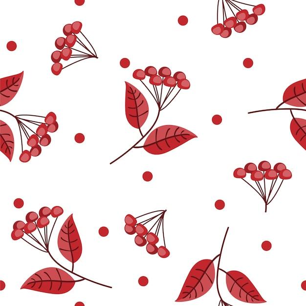 Kwiecisty bezszwowy wzór z jesień liśćmi i jagodami.