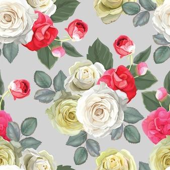 Kwiecisty bezszwowy wzór z różą
