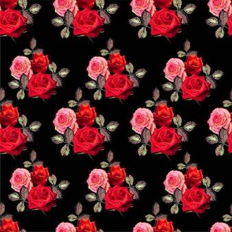 Kwiecisty bezszwowy wzór z różaną wektorową ilustracją