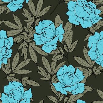 Kwiecisty bezszwowy wzór z różową peonią kwitnie na ciemnym tle. tło z piwonie i róże.