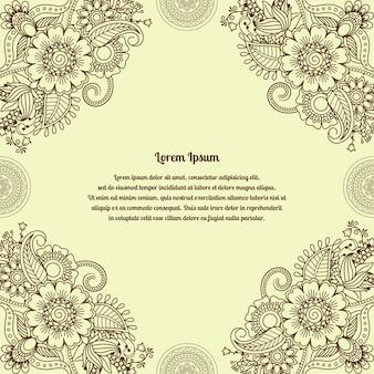 Kwiecisty henny indyjski mehendi tło