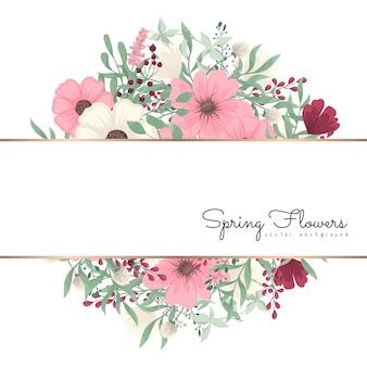 Kwiecisty rabatowy tło - różowy kwiat granica