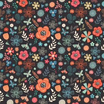 Kwiecisty retro bezszwowy wzór z różnymi kwiatami, motylami i roślinami
