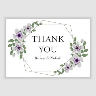 Kwiecisty ślub dziękuje ciebie karcianego z purpurowym czereśniowym okwitnięciem