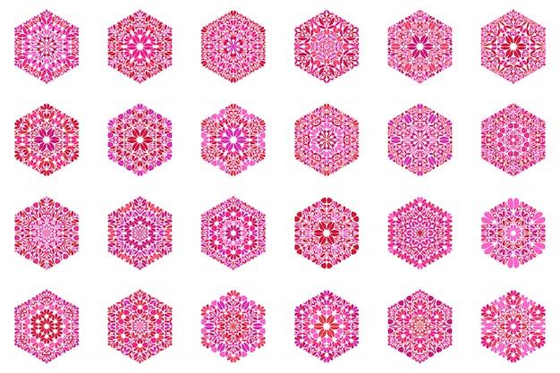Kwiecisty streszczenie na białym tle kwiatowy sześciokąt symbol szablon zestaw zestaw