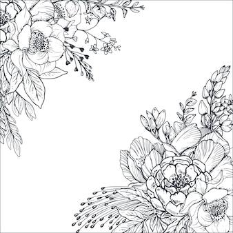 Kwiecisty tła z ręcznie rysowane kwiaty i rośliny. monochromatyczny w stylu szkicu.