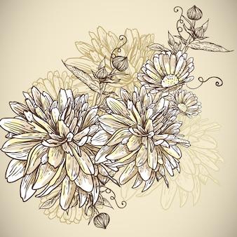 Kwiecisty tło z kwitnącymi kwiatami