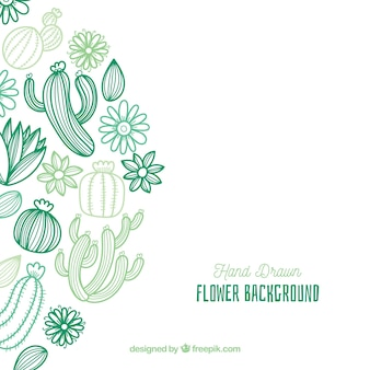 Kwiecisty tło z ręka rysującym kaktusem